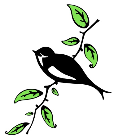 Swallow on a branch Illustration