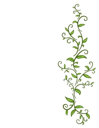 Vine tribal con hojas Ilustración de vector