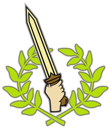 Roman sword and wreath Stock Vector - 17290547