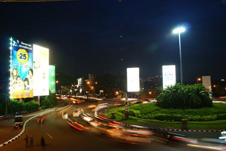 Kelapa Gading Roundabout at Night Slow Shutter