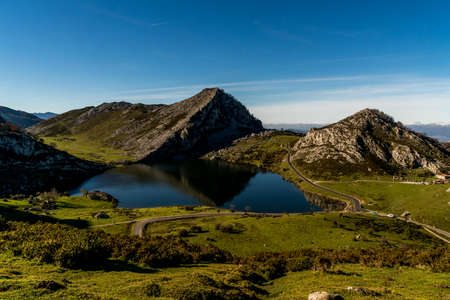 The glacier formed lakes and mountains of Covadonga Spain in the northern province of Asturias.