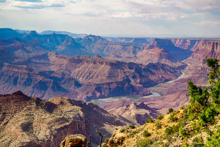 Some different views of the south rim of the Grand Canyon in Arizona. Wildfires in the area caused the haze in the air. Stock fotó