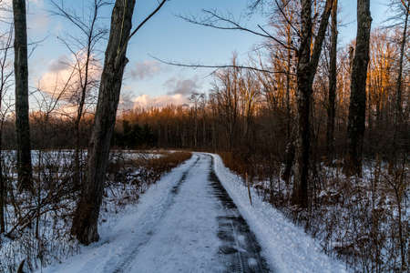 A tranquil sunset in the park on a cold winters day in Northeast Ohio. Stock Photo