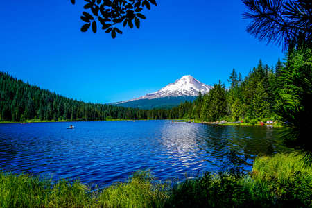 A dazzling view of Mount Hood from trillium Lake in northern Oregon.