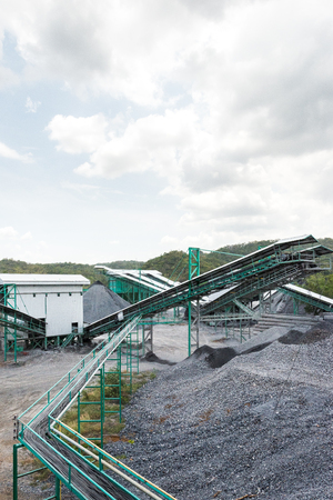 desalination: Limestone quarry with modern crushing and screening equipment.