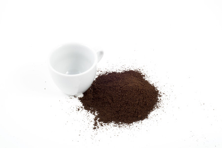 grinded: Cup of coffee and grinded coffee Stock Photo