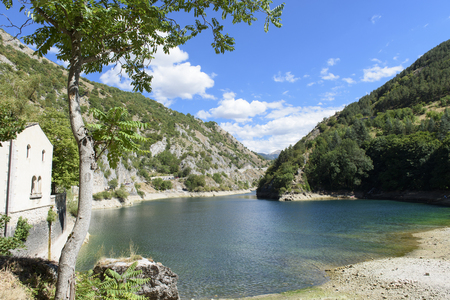 lake district: San Domenico Hermitage, San Domenico Lake, LAquila, Abruzzo, Italy Stock Photo