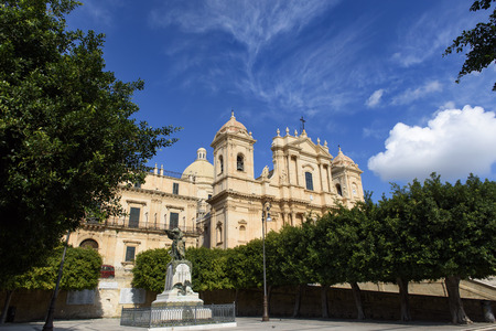 Roman Catholic Cathedral of Saint Nicholas of Myra in Sicilian Baroque Style located in Noto, Sicily, Italy Stock Photo