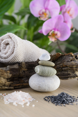 Spa Still Life, Stones, Pink and Black Salt Therapy