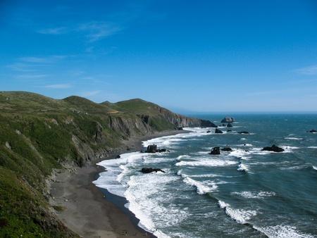 california coast: Breakers pound the rugged coastline of Sonoma County State Beach, California  Stock Photo