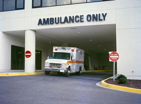 ambulance: Ambulance at Emergency Room entrance