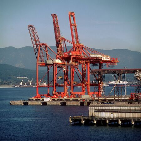 Port cargo cranes Stock Photo