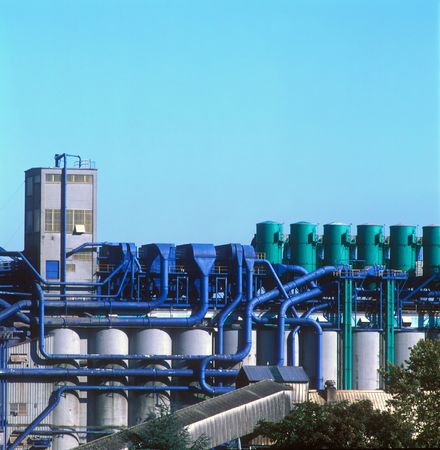 coded: Industrial plant with color coded process piping Stock Photo