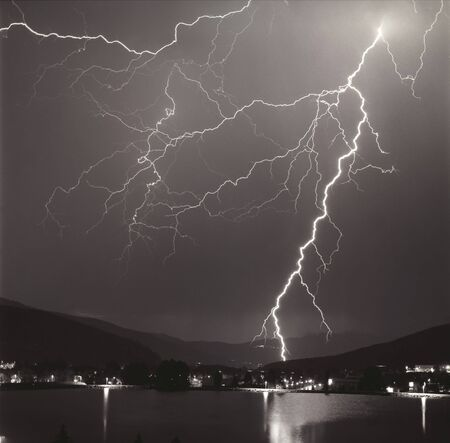 Lightning storm in the mountains