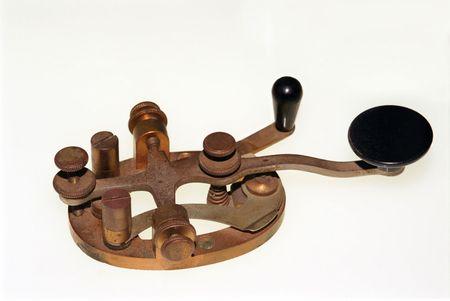Railroad telegraph key - isolated on white