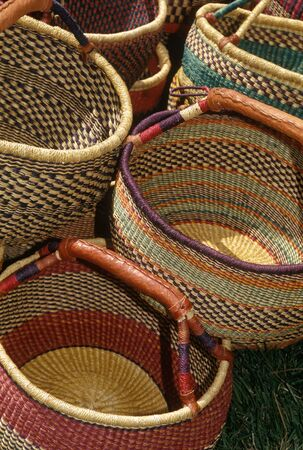 Handmade baskets placed out on display Stock Photo