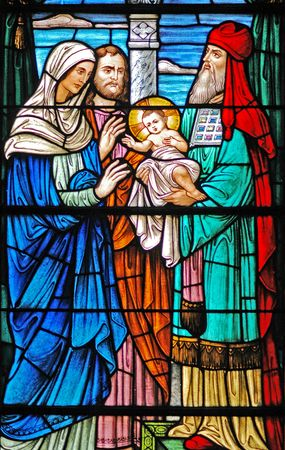 Baby Jesus/ Wise Men window in 19th century (St. Mary's built 1875 - 1899) church Stok Fotoğraf