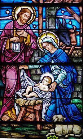 nascita di gesu: Finestra di scena del nativity nella diciannovesima chiesa di secolo (st Mary costruita 1875 - 1899)