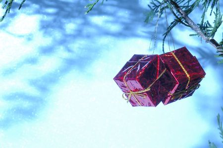 Christmas package ornaments with white space