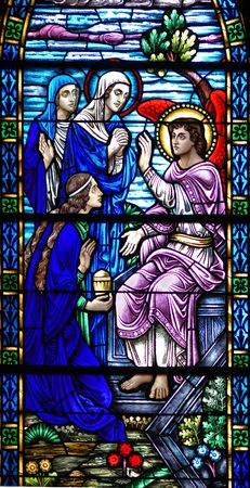 Stained glass window, in 19th century (St. Mary's built 1875 - 1899) church,  of Mary (mother of Christ), Mary Magdalene, and Sinope(?) on their way to the tomb, receiving word from the Angel that Christ has risen
