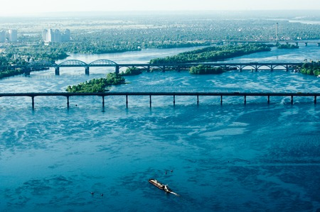 dniper: Aerial view of the Dniper river in Kiev, Ukraine Stock Photo