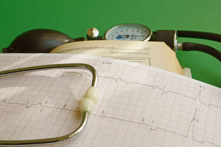 cardiovascular system: Diagnosis of diseases of the cardiovascular system with ECG results Stock Photo