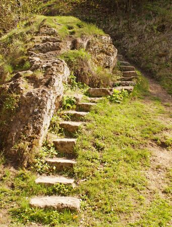 leading: Stone stairs leading up (way to the top). Stock Photo