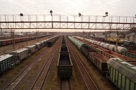 Cargo trains on  freight railroad station - industrial landscape Stock Photo