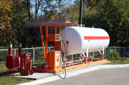 Liquid propane gas station. LPG station for filling liquefied gas into the vehicle tanks. Environmentally friendly fuel. Stock Photo