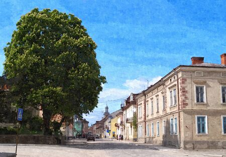 Picture of street in little ukrainian town Berezhany.  Typical street of europian city. Picture of cityscape.