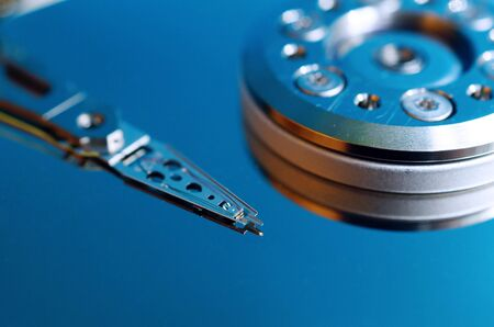 Hard disk drive without cover close up. Inside hard disk. Data storage technology. Hi-tech. Big data.