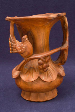 hand crafted: Ecuadorian hand crafted carved  intricate wood vase Stock Photo