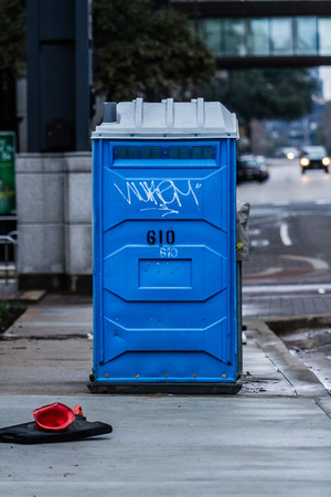 Blue Porta Potty Stock Photo