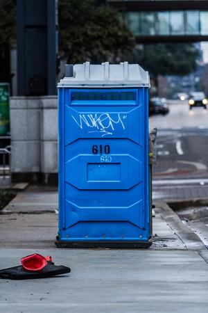 potty: Blue Porta Potty Stock Photo