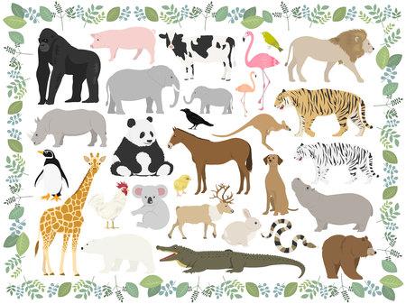 Tierillustrationsset Vektorgrafik