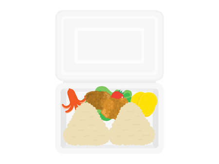 Illustration of the lunch box of the rice ball in the pack.