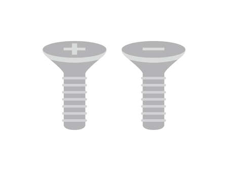 Illustration of plus and minus screws.