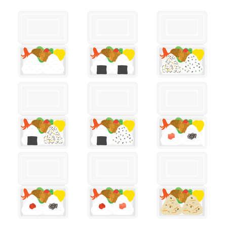 Illustration set of onigiri bento.