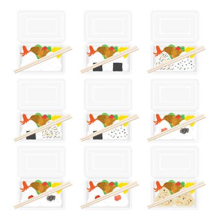 Illustration set of onigiri bento. Illustration