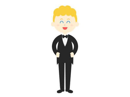 Illustration of a white man in a black tuxedo.