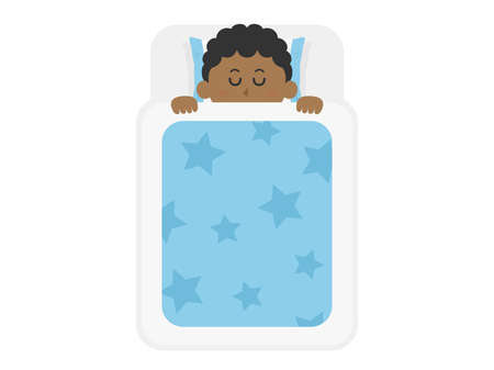 Illustration of a black man sleeping on a futon.