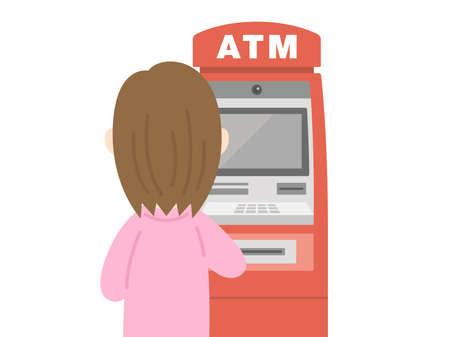Illustration of a woman using an ATM.