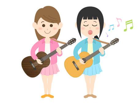 Illustration of a pair of female musicians. Stock Illustratie