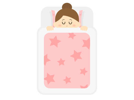 Illustration of a woman sleeping on a futon.