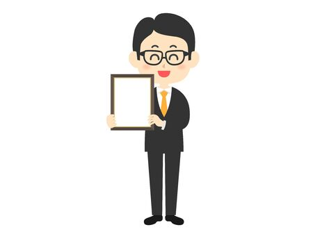 Illustration of a man with a blank picture frame. Illustration