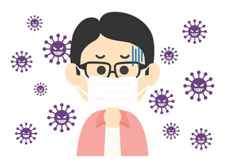 Illustration of a sick man wearing a mask.