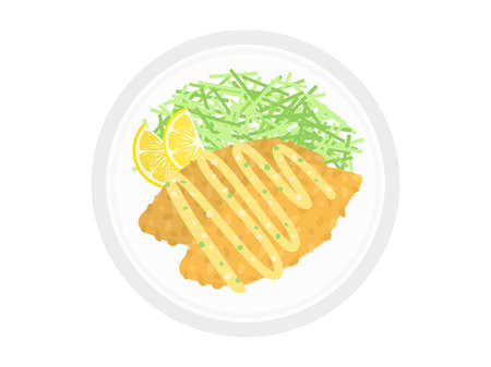 Illustration of fried white fish on a plate.