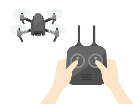 Illustration of flying a drone.