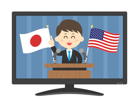 An illustration of a man addressing Japan and the United States on TELEVISION.  イラスト・ベクター素材