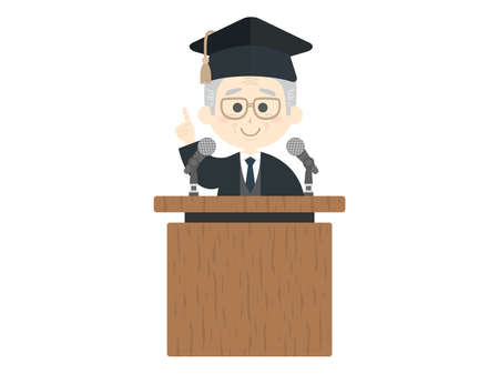 An illustration of an elderly professor giving a speech. Ilustração